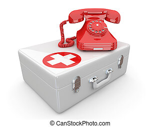 HelplineServices Phone on medical kit 3d