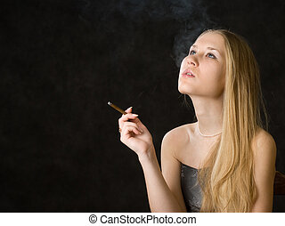 Beautiful smoking woman