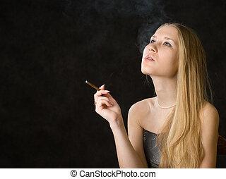 Beautiful smoking woman