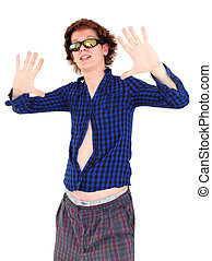 Young man with funny hair and clothes pretending to be a star
