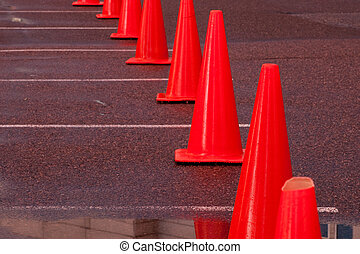 Construction cone - Row of construction cones at the valet...