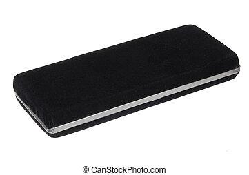 black velvet gift box isolated on white