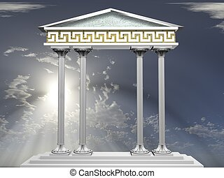 columns - 3d illustration of Ionic columns