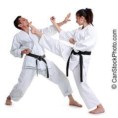 karate, joven, niña, hombres, kimono, batalla,...