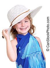 Little girl in a white bonnet