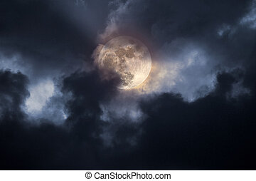 Stormy full moon night - Illustration of an interesting full...