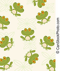 Seamless Pattern Tree Frog Cartoon Character