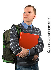 Young student man with a backpack