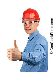Young construction worker with thumbs up
