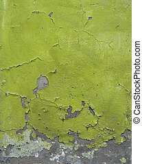 green blathering chipping paint on grunge concrete wall