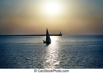 Sail boat against sunset - Sail boat against sea sunset Blue...