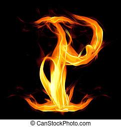 Fiery font. Letter P