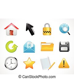 abstract multiple glossy web icons