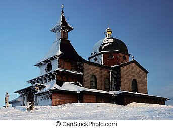 Wood church - Wooden chapel at peak of Radhost in Beskydy...