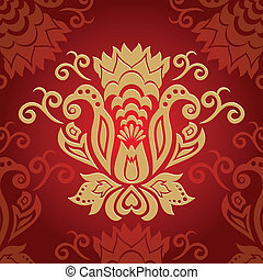 abstract golden ornamental floral
