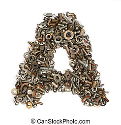 alphabet made of bolts - The letter a