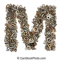 alphabet made of bolts - The letter m