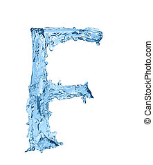 alphabet made of frozen water - the letter F