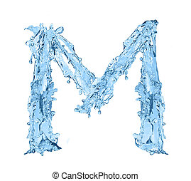 alphabet made of frozen water - the letter M