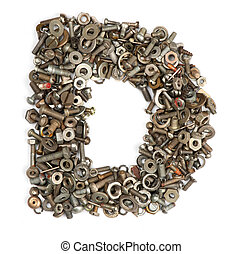 alphabet made of bolts - The letter d