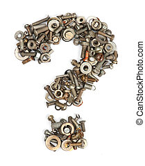 alphabet made of bolts - question mark