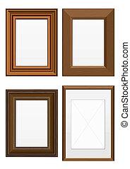 Illustration set of wooden frames