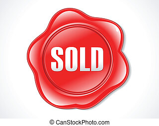 abstract red shiny plastic sold stamp vector illustration