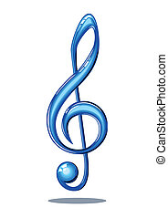 Glossy music note - Blue 3d glossy music note isolated on...