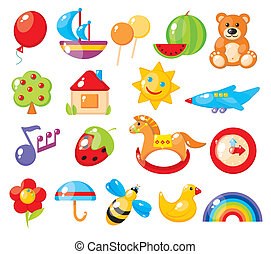 set, colorful, children's, pictures, kindergarten