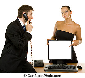 Call us - businessman with telephone and a beautiful girl...