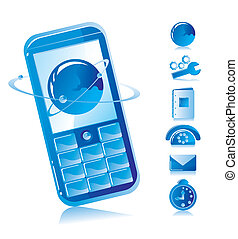 Mobile phone on a dark blue background and telecommunication...