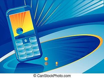 Mobile phone on a dark blue background