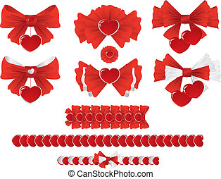 bow - a set of red and silver ribbons with hearts for...