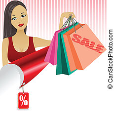 Woman with shopping bags - beautiful girl with shopping bags...