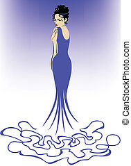 Woman in Blue - beautiful elegant woman in a long blue dress