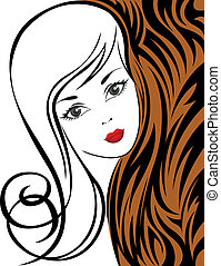 Girl on a tiger background - sketch of a beautiful girl on...