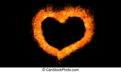 Fire love heart - Loopable fire love heart animation with...