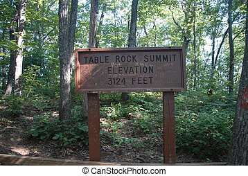 Summit Sign - The summit sign at the top of table rock in...