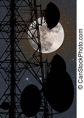 Communicaton - Photo composition with full moon at night,...
