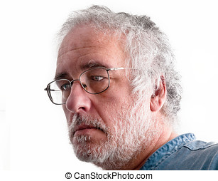 Gray Hair Elderly Man - Messy gray hair and gray beard...