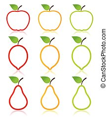 Fruit icon - Icon of fruit an apple, a pear and a lemon A...