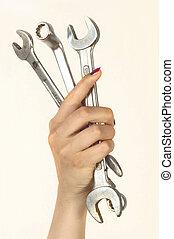mujer, tenencia, grande, cromo, vanadium, llaves de tuercas,...