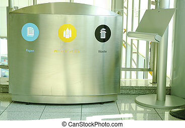 Steel Recycle Bin with tablet