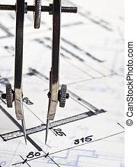 construção, inspeção, planos, sob