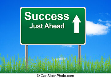 Success road sign on sky background, grass underneath.