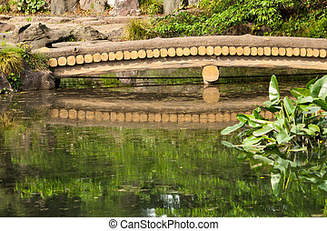 Wooden Bridge - Wooden bridge over the pond in Japanese...