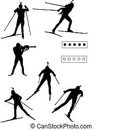 Biathlon silhouette - vector