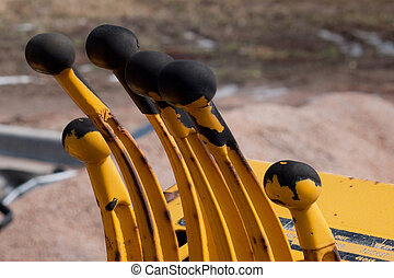 Levers of old excavator.