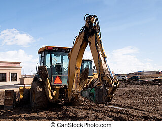 Excavator on the construction site.