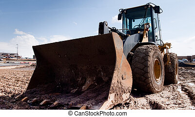Bulldozer on the construction site